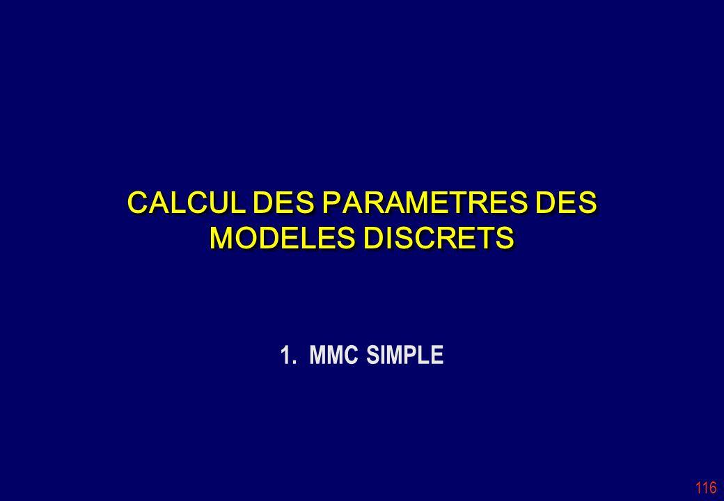 CALCUL DES PARAMETRES DES MODELES DISCRETS