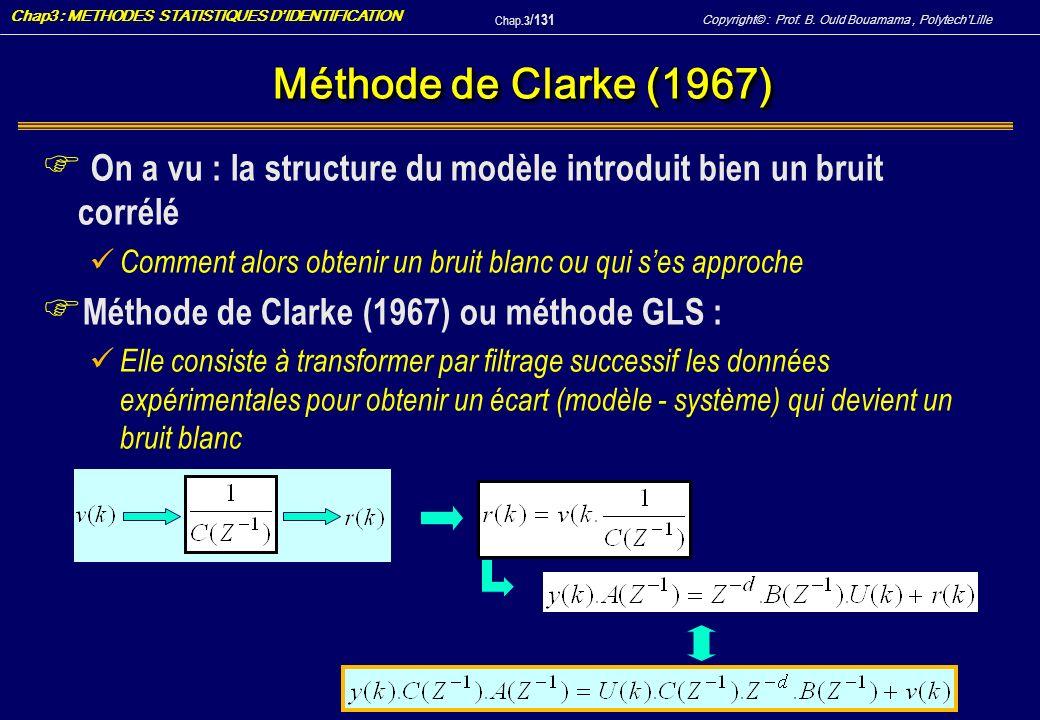 Méthode de Clarke (1967) On a vu : la structure du modèle introduit bien un bruit corrélé. Comment alors obtenir un bruit blanc ou qui s'es approche.