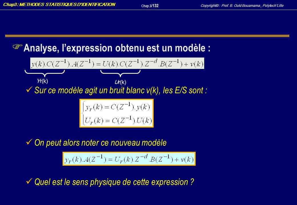 Analyse, l'expression obtenu est un modèle :