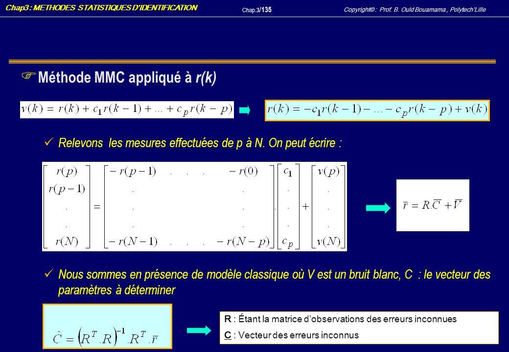 Méthode MMC appliqué à r(k)