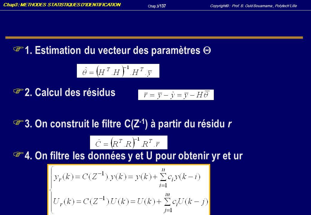 1. Estimation du vecteur des paramètres 