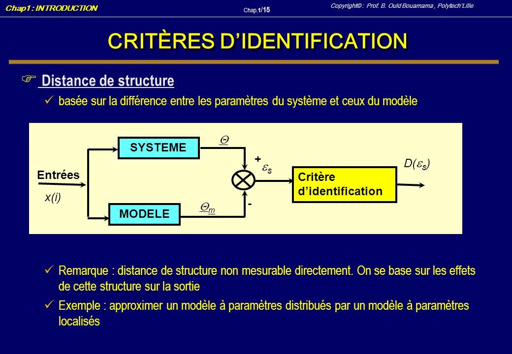 CRITÈRES D'IDENTIFICATION