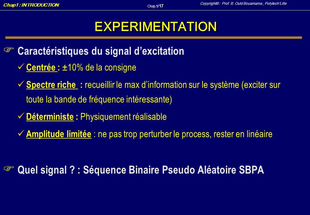 EXPERIMENTATION Caractéristiques du signal d'excitation