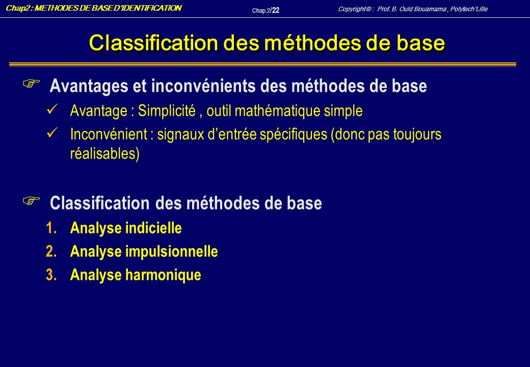 Classification des méthodes de base