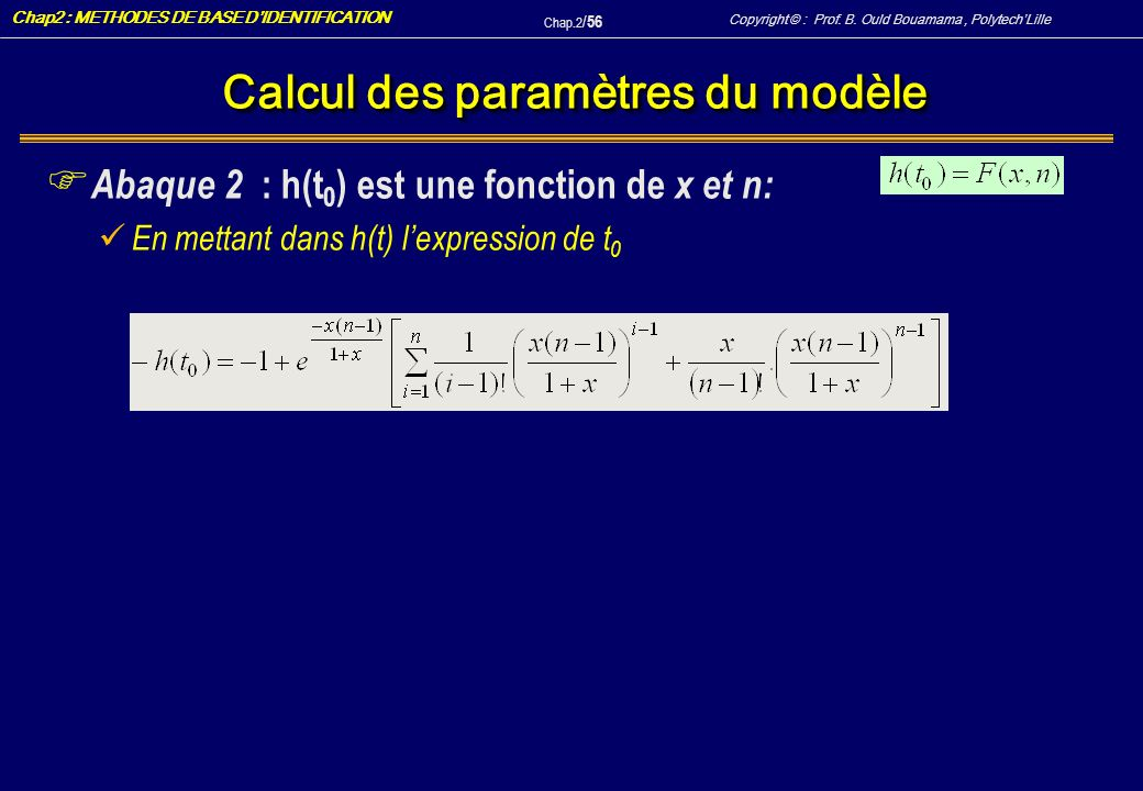 Calcul des paramètres du modèle