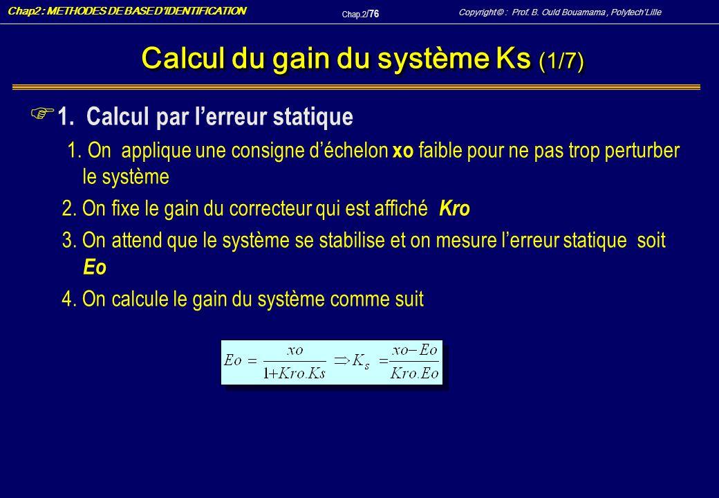 Calcul du gain du système Ks (1/7)