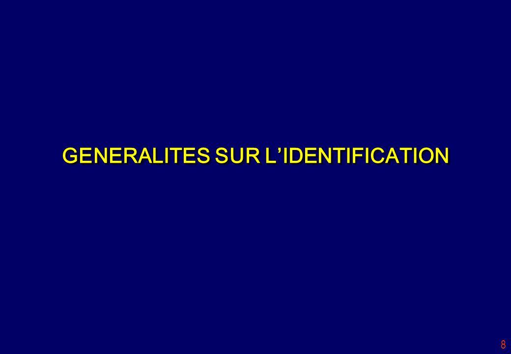 GENERALITES SUR L'IDENTIFICATION
