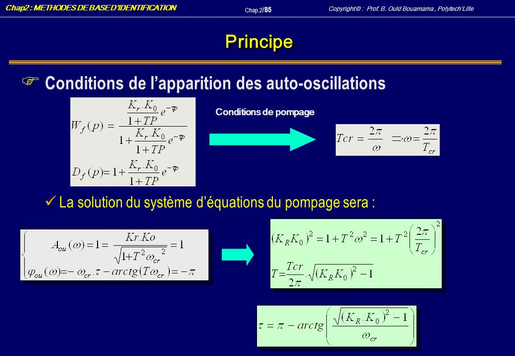 Conditions de l'apparition des auto-oscillations