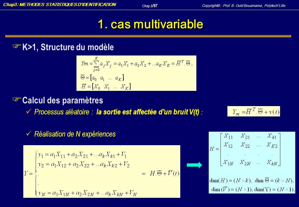 1. cas multivariable K>1, Structure du modèle Calcul des paramètres
