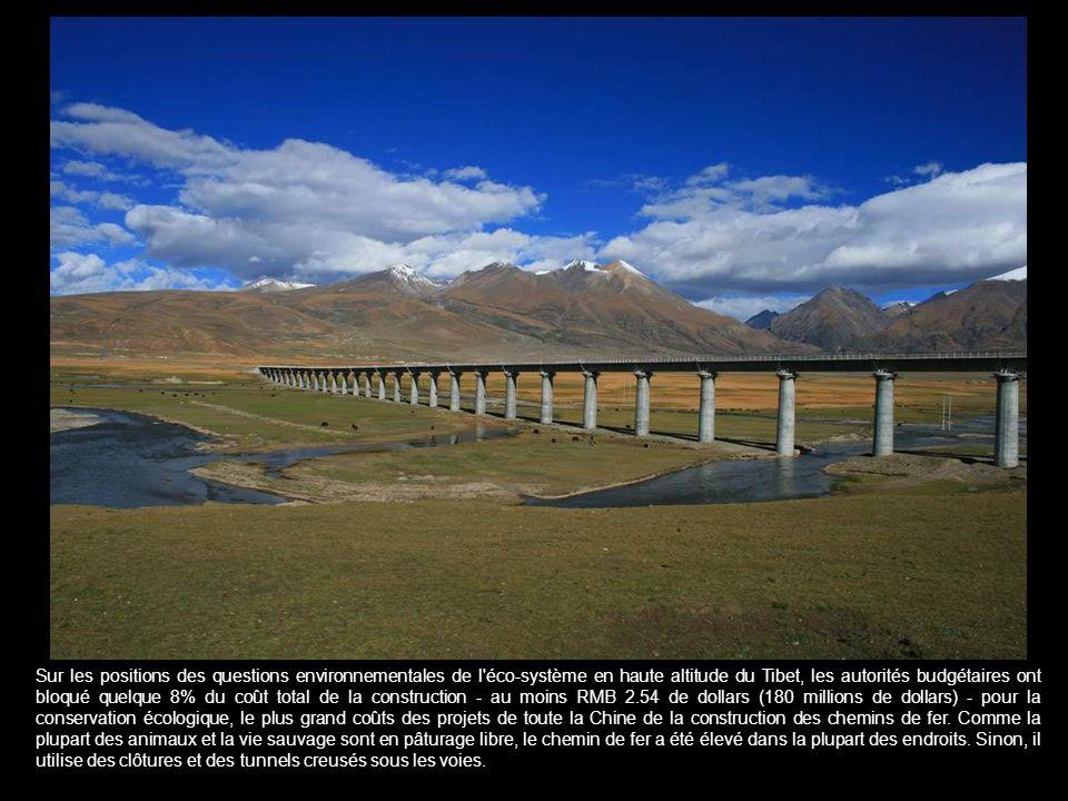 Sur les positions des questions environnementales de l éco-système en haute altitude du Tibet, les autorités budgétaires ont bloqué quelque 8% du coût total de la construction - au moins RMB 2.54 de dollars (180 millions de dollars) - pour la conservation écologique, le plus grand coûts des projets de toute la Chine de la construction des chemins de fer.