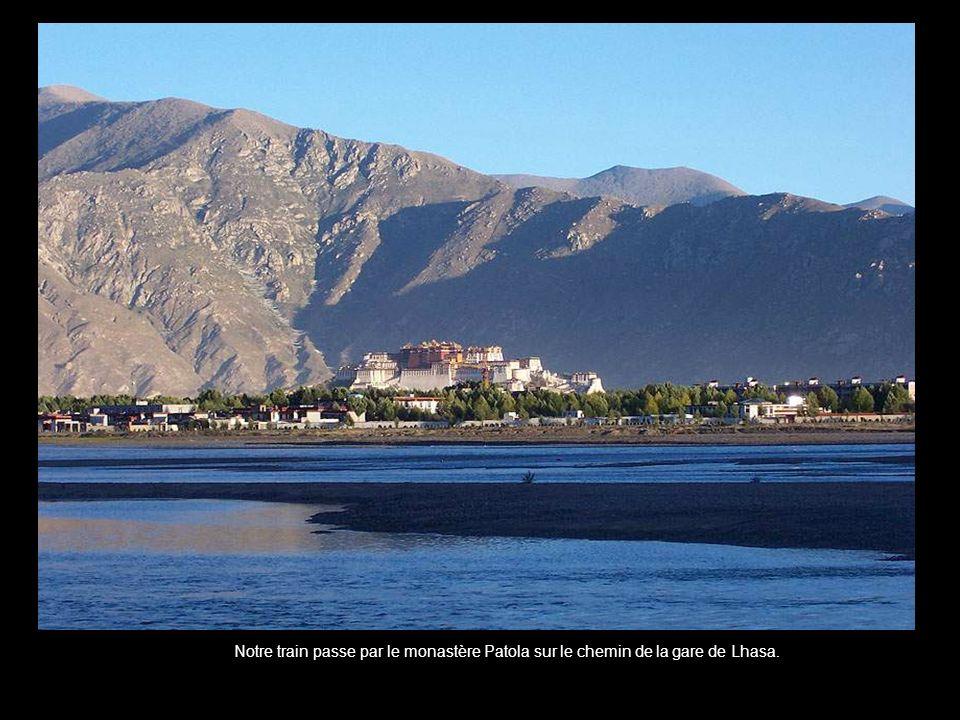 Notre train passe par le monastère Patola sur le chemin de la gare de Lhasa.