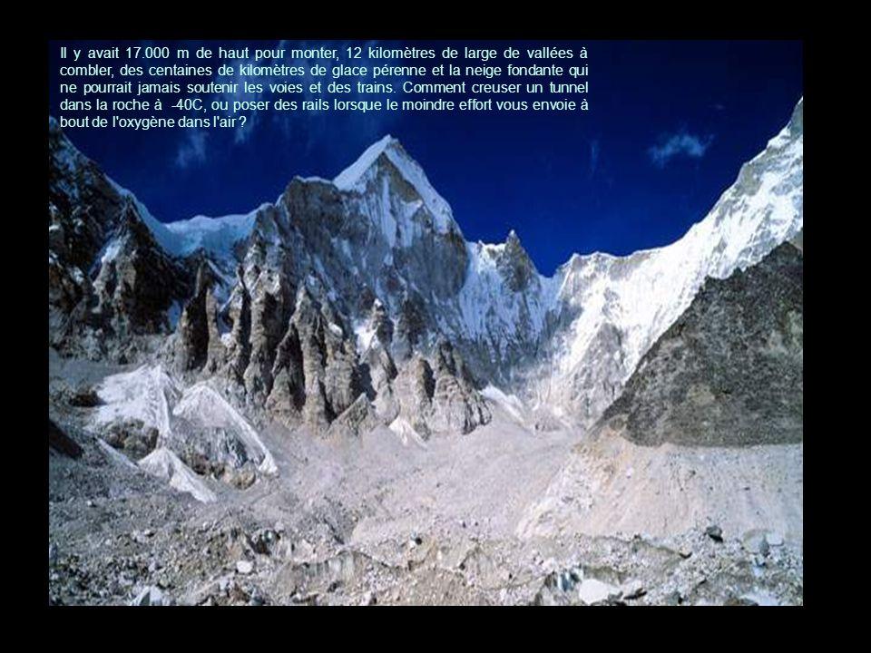 Il y avait 17.000 m de haut pour monter, 12 kilomètres de large de vallées à combler, des centaines de kilomètres de glace pérenne et la neige fondante qui ne pourrait jamais soutenir les voies et des trains.