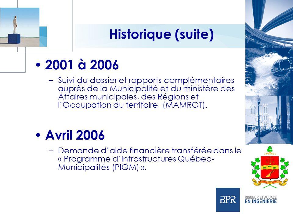 Historique (suite) 2001 à 2006 Avril 2006