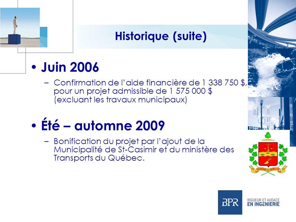 Juin 2006 Été – automne 2009 Historique (suite)