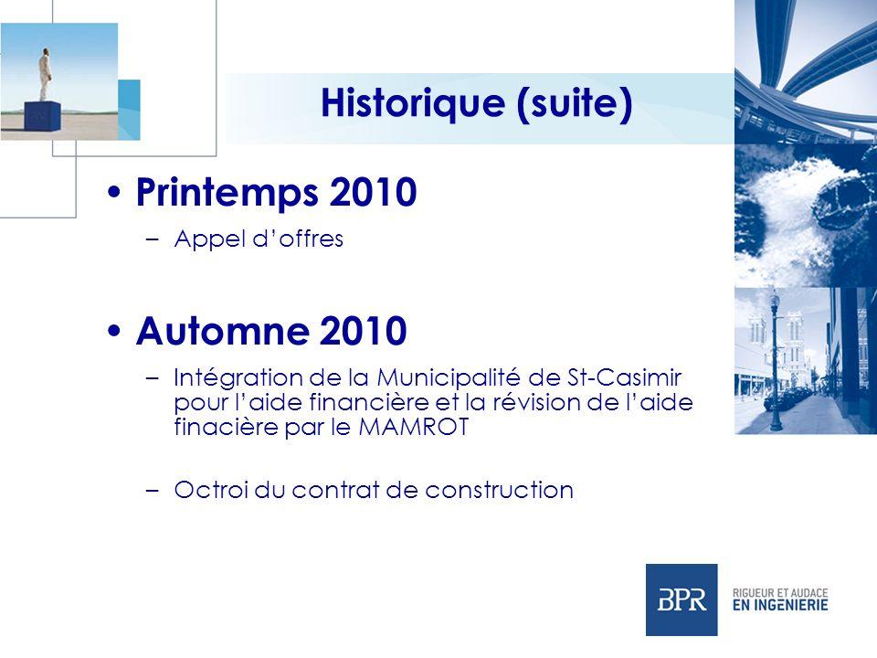 Historique (suite) Printemps 2010 Automne 2010 Appel d'offres