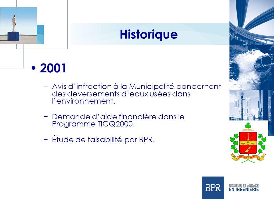 Historique 2001. Avis d'infraction à la Municipalité concernant des déversements d'eaux usées dans l'environnement.