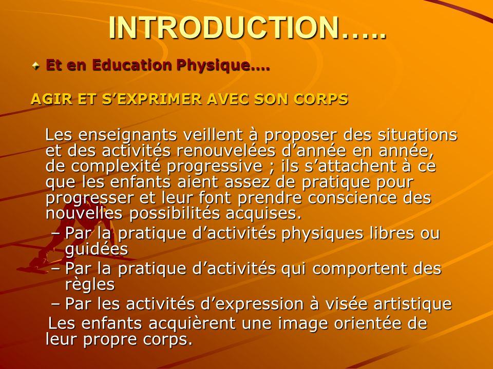 INTRODUCTION…..Et en Education Physique…. AGIR ET S'EXPRIMER AVEC SON CORPS.