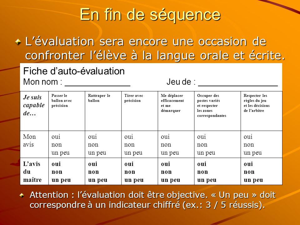 En fin de séquenceL'évaluation sera encore une occasion de confronter l'élève à la langue orale et écrite.