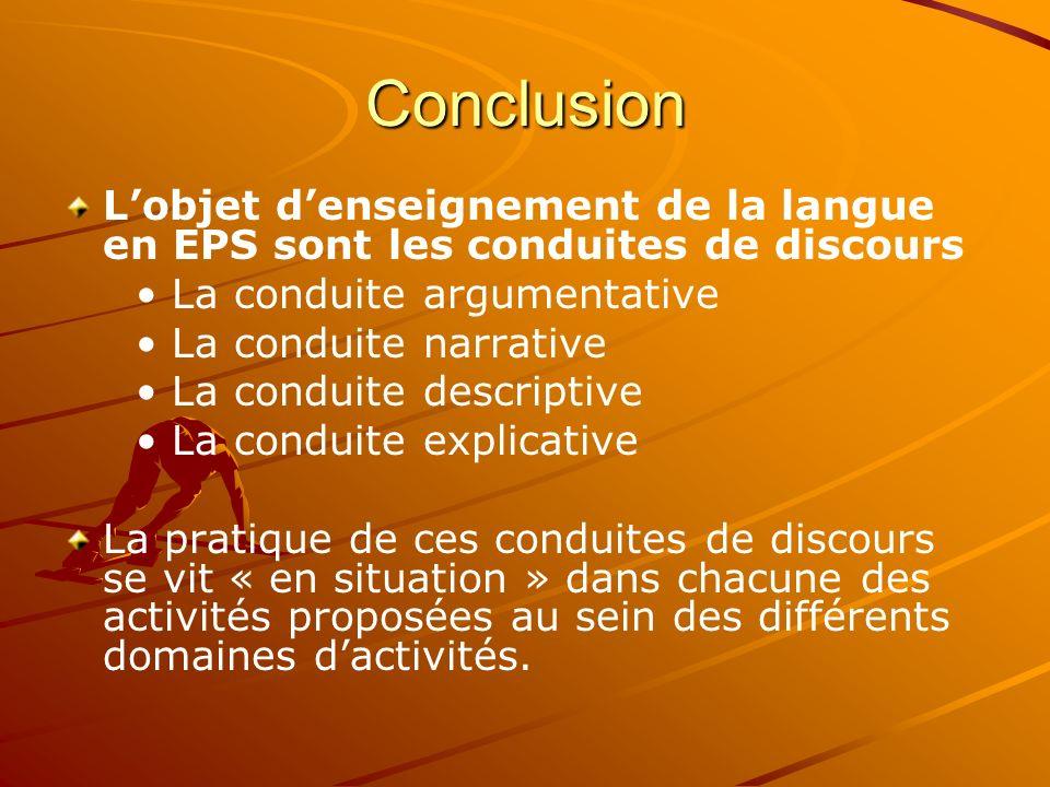 ConclusionL'objet d'enseignement de la langue en EPS sont les conduites de discours. • La conduite argumentative.