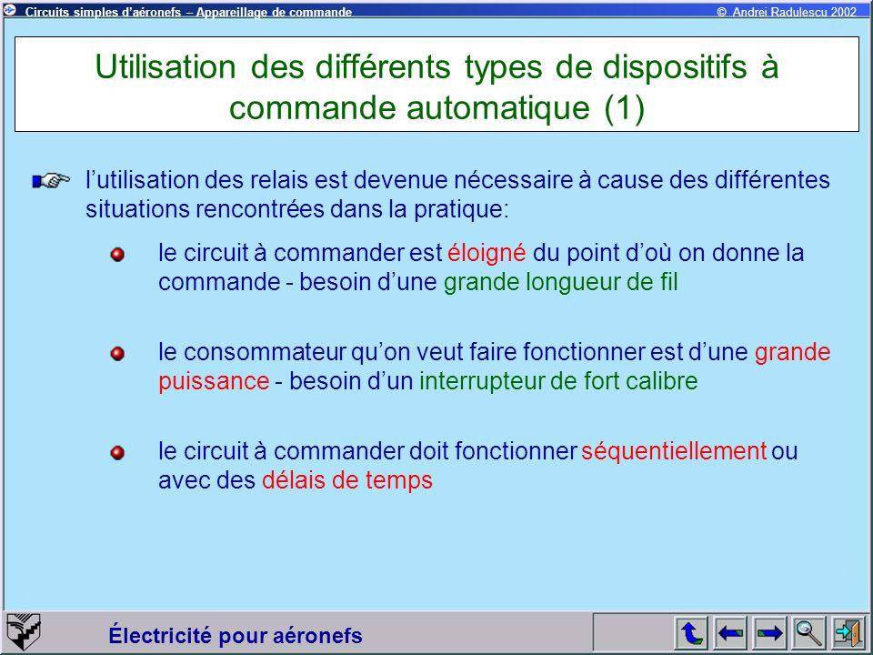 Utilisation des différents types de dispositifs à commande automatique (1)