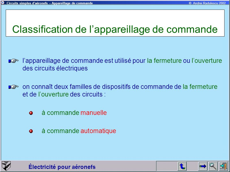 Classification de l'appareillage de commande