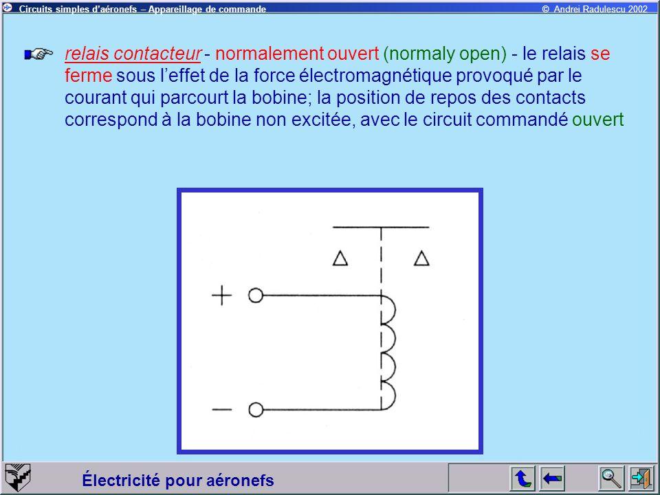 relais contacteur - normalement ouvert (normaly open) - le relais se ferme sous l'effet de la force électromagnétique provoqué par le courant qui parcourt la bobine; la position de repos des contacts correspond à la bobine non excitée, avec le circuit commandé ouvert