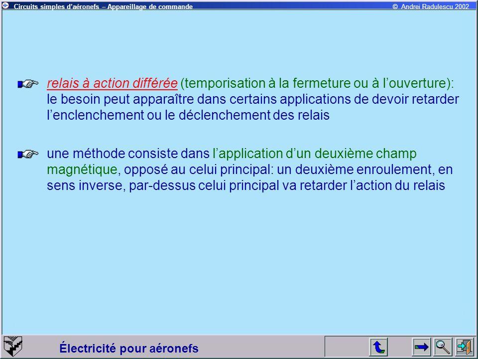 relais à action différée (temporisation à la fermeture ou à l'ouverture): le besoin peut apparaître dans certains applications de devoir retarder l'enclenchement ou le déclenchement des relais