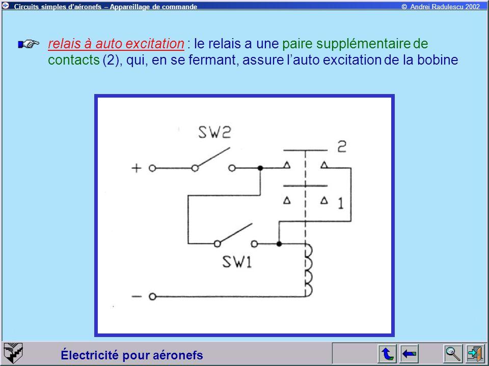 relais à auto excitation : le relais a une paire supplémentaire de contacts (2), qui, en se fermant, assure l'auto excitation de la bobine