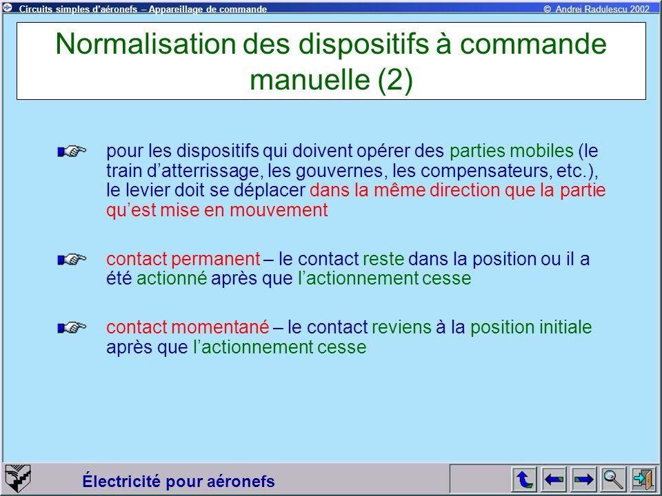 Normalisation des dispositifs à commande manuelle (2)