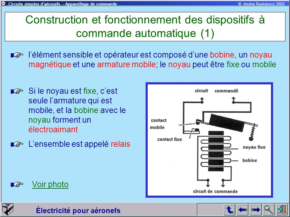 Construction et fonctionnement des dispositifs à commande automatique (1)