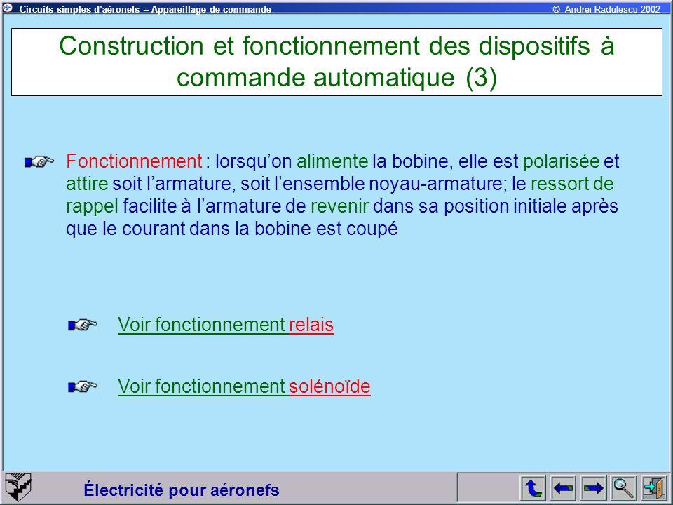 Construction et fonctionnement des dispositifs à commande automatique (3)