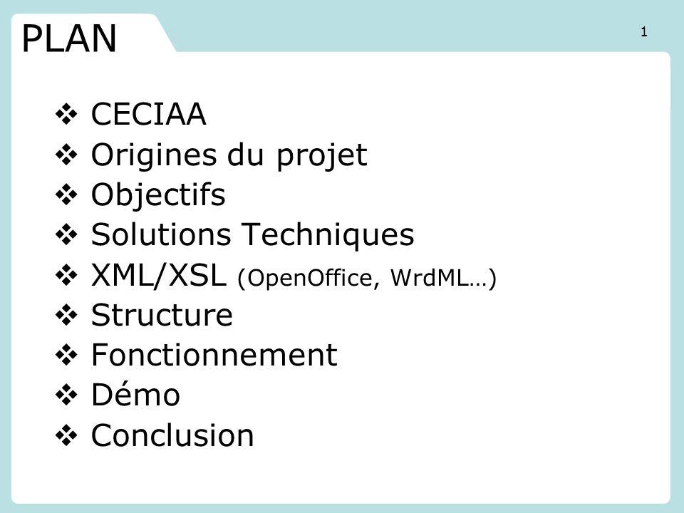 PLAN CECIAA Origines du projet Objectifs Solutions Techniques