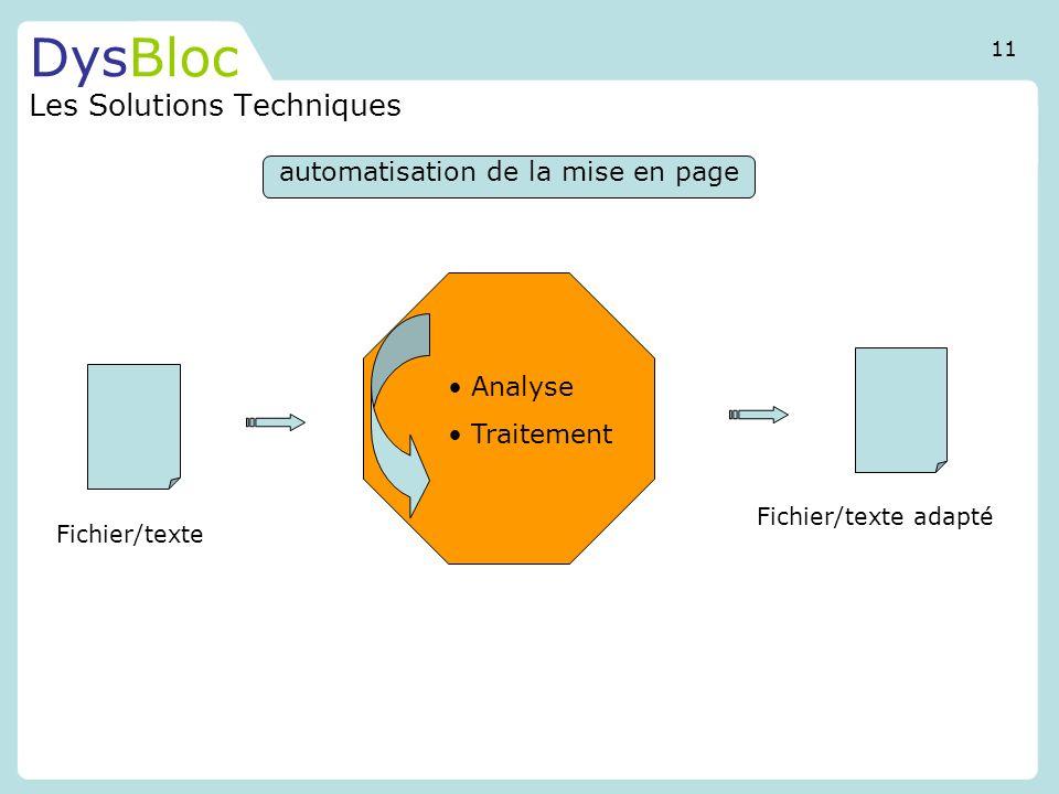 DysBloc Les Solutions Techniques