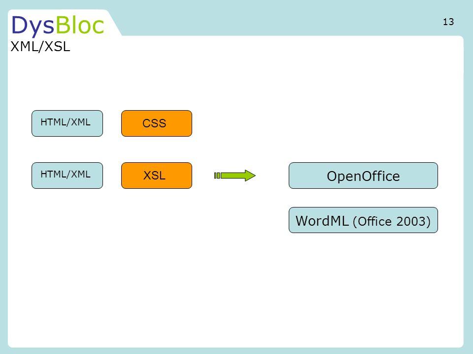 DysBloc XML/XSL OpenOffice WordML (Office 2003) CSS XSL 13 HTML/XML