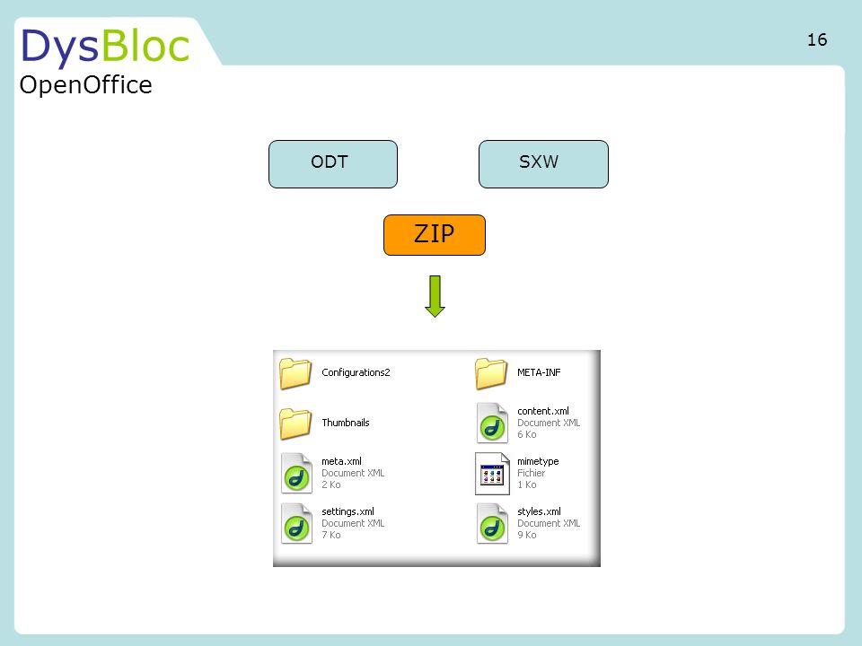DysBloc OpenOffice 16 ODT SXW ZIP