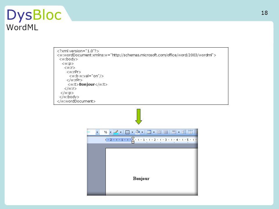 DysBloc WordML 18 < xml version= 1.0 >