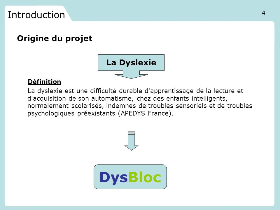 DysBloc Introduction Origine du projet La Dyslexie Définition
