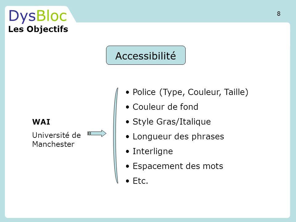 DysBloc Les Objectifs Accessibilité Police (Type, Couleur, Taille)