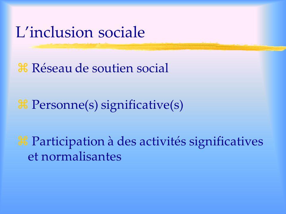L'inclusion sociale Réseau de soutien social