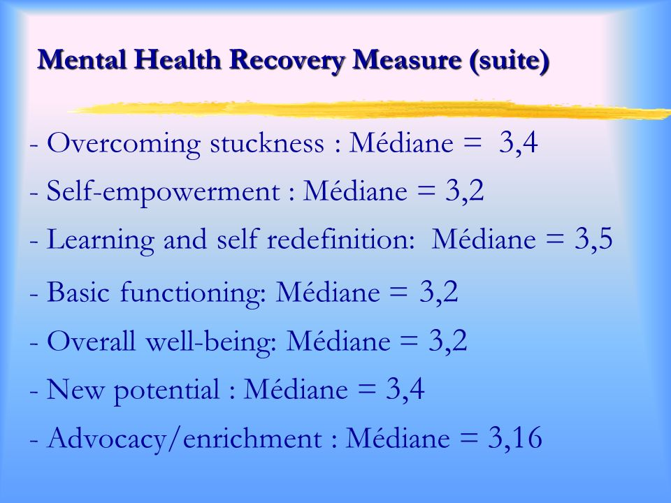 Mental Health Recovery Measure (suite)