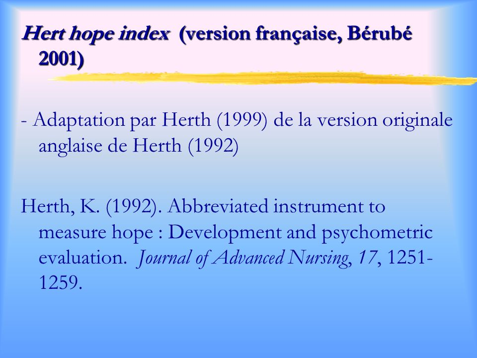 Hert hope index (version française, Bérubé 2001)