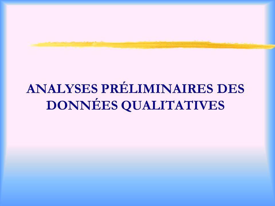 ANALYSES PRÉLIMINAIRES DES DONNÉES QUALITATIVES