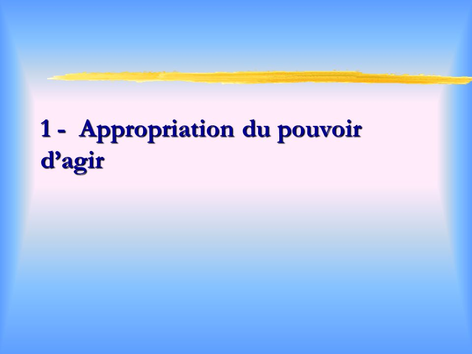 1 - Appropriation du pouvoir d'agir