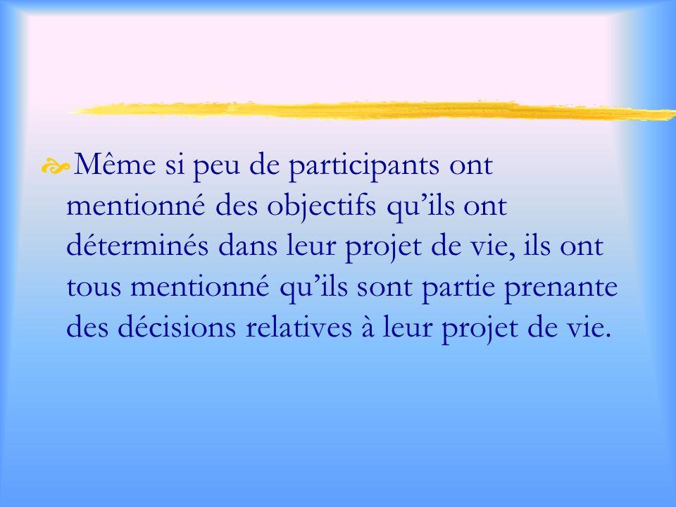 Même si peu de participants ont mentionné des objectifs qu'ils ont déterminés dans leur projet de vie, ils ont tous mentionné qu'ils sont partie prenante des décisions relatives à leur projet de vie.