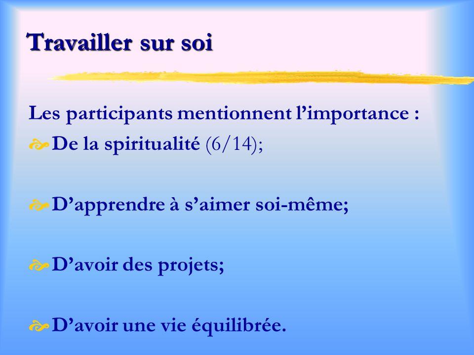 Travailler sur soi Les participants mentionnent l'importance :