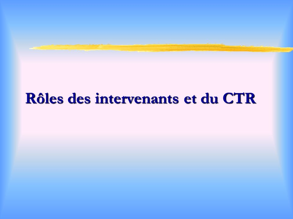 Rôles des intervenants et du CTR