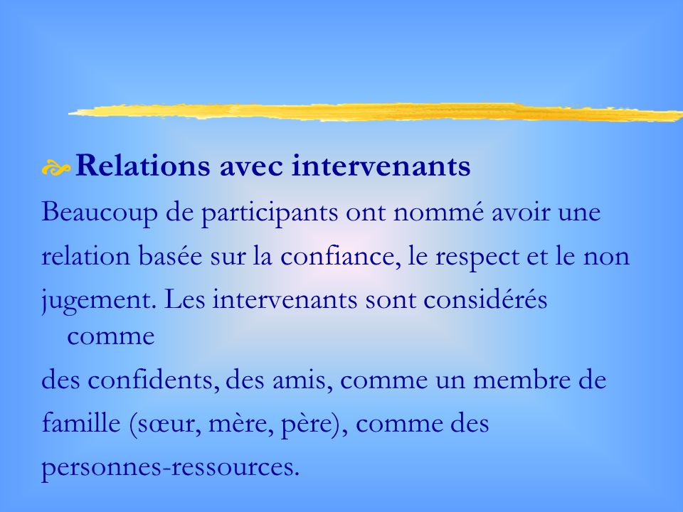 Relations avec intervenants