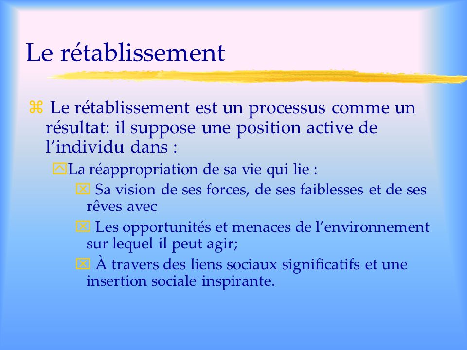 Le rétablissementLe rétablissement est un processus comme un résultat: il suppose une position active de l'individu dans :