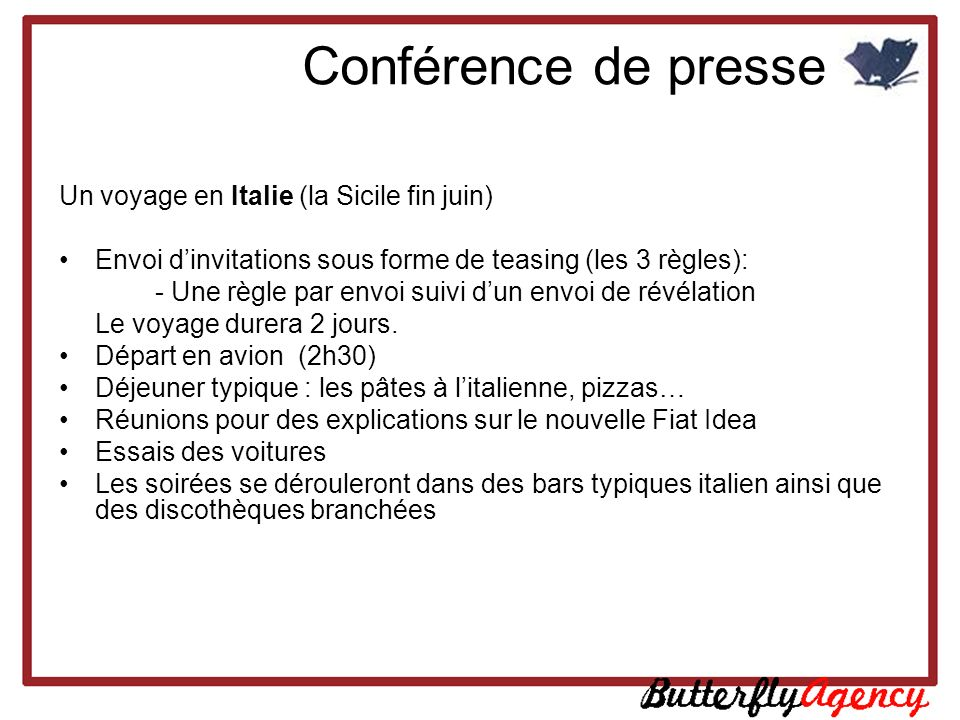 Conférence de presse Un voyage en Italie (la Sicile fin juin)