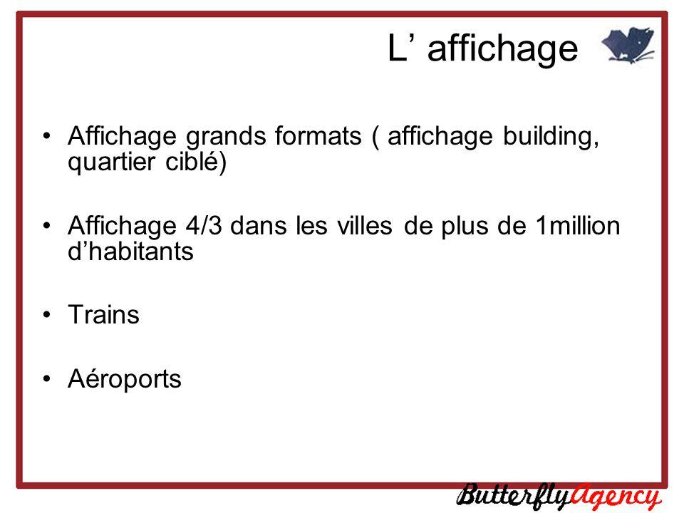 L' affichage Affichage grands formats ( affichage building, quartier ciblé) Affichage 4/3 dans les villes de plus de 1million d'habitants.